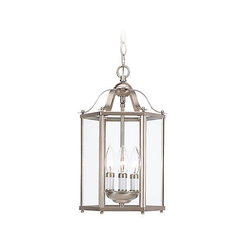 Sea gull lighting 3 light 40w brushed nickel pendant light fixture 3 light 40w brushed nickel pendant light fixture with clear glass shade aloadofball Image collections