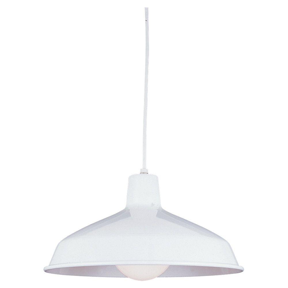 Lustre Seagull à une ampoule avec abat-jour de spécialité, Fini blanc