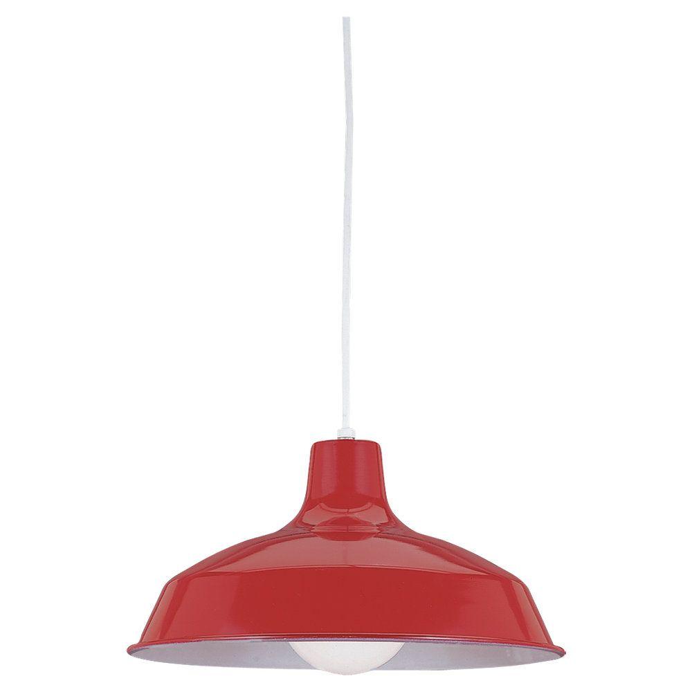 1 Light Red Incandescent Pendant