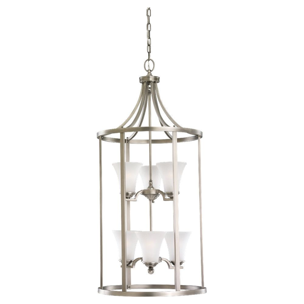 6 Light Antique Brushed Nickel Incandescent Foyer Pendant