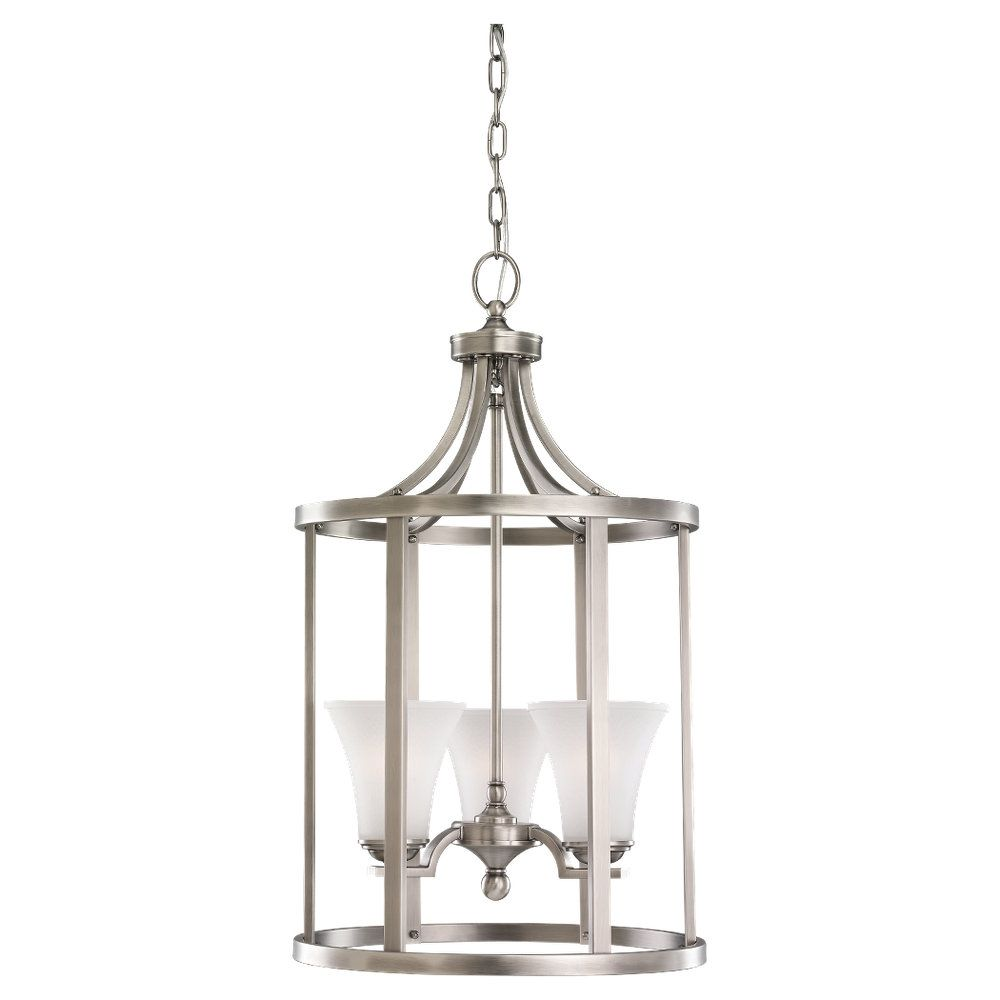 3-Light Antique Brushed Nickel Foyer Pendant