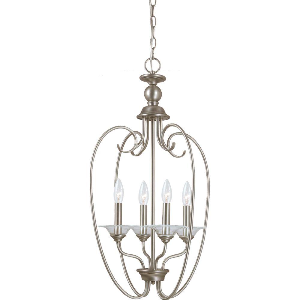 4 Light Antique Brushed Nickel Incandescent Foyer Pendant