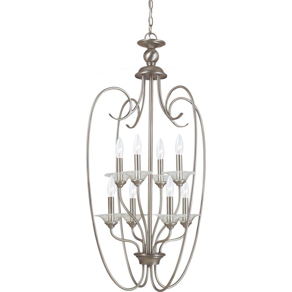 8-Light Antique Brushed Nickel Foyer Pendant