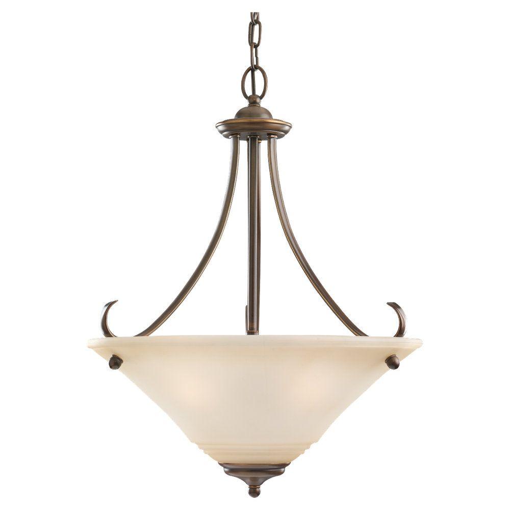Lustre Seagull à trois ampoules avec abat-jour de spécialité, Fini bronze
