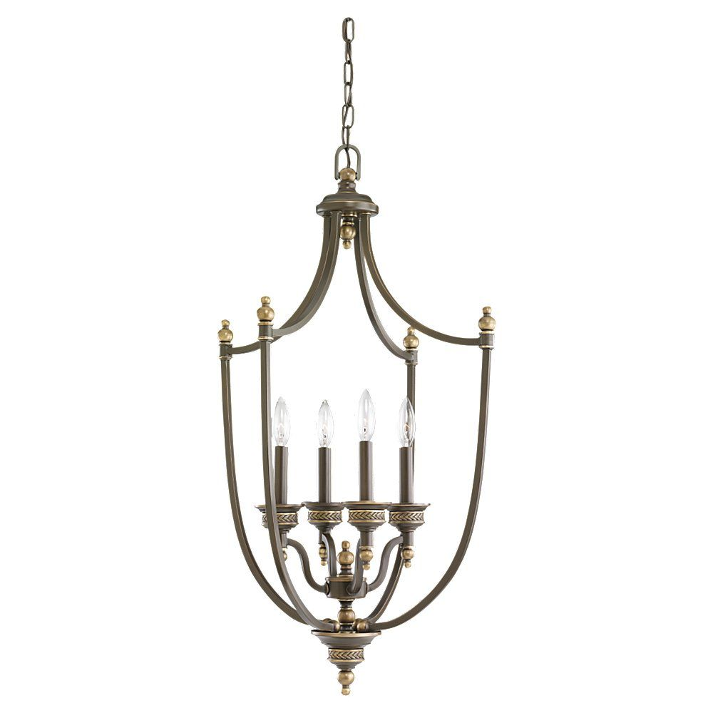 4-Light Estate Bronze Foyer Pendant