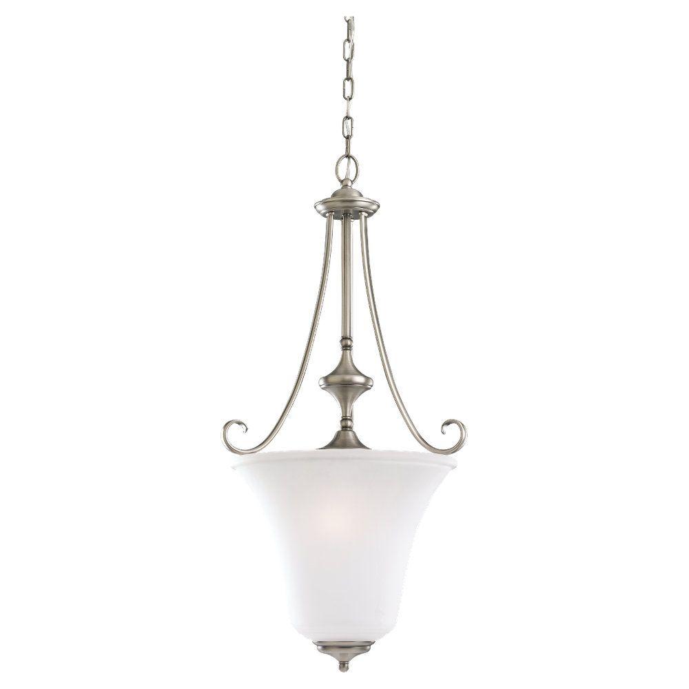 3 Antique de lumières, nickel brossé Lustre à incandescence
