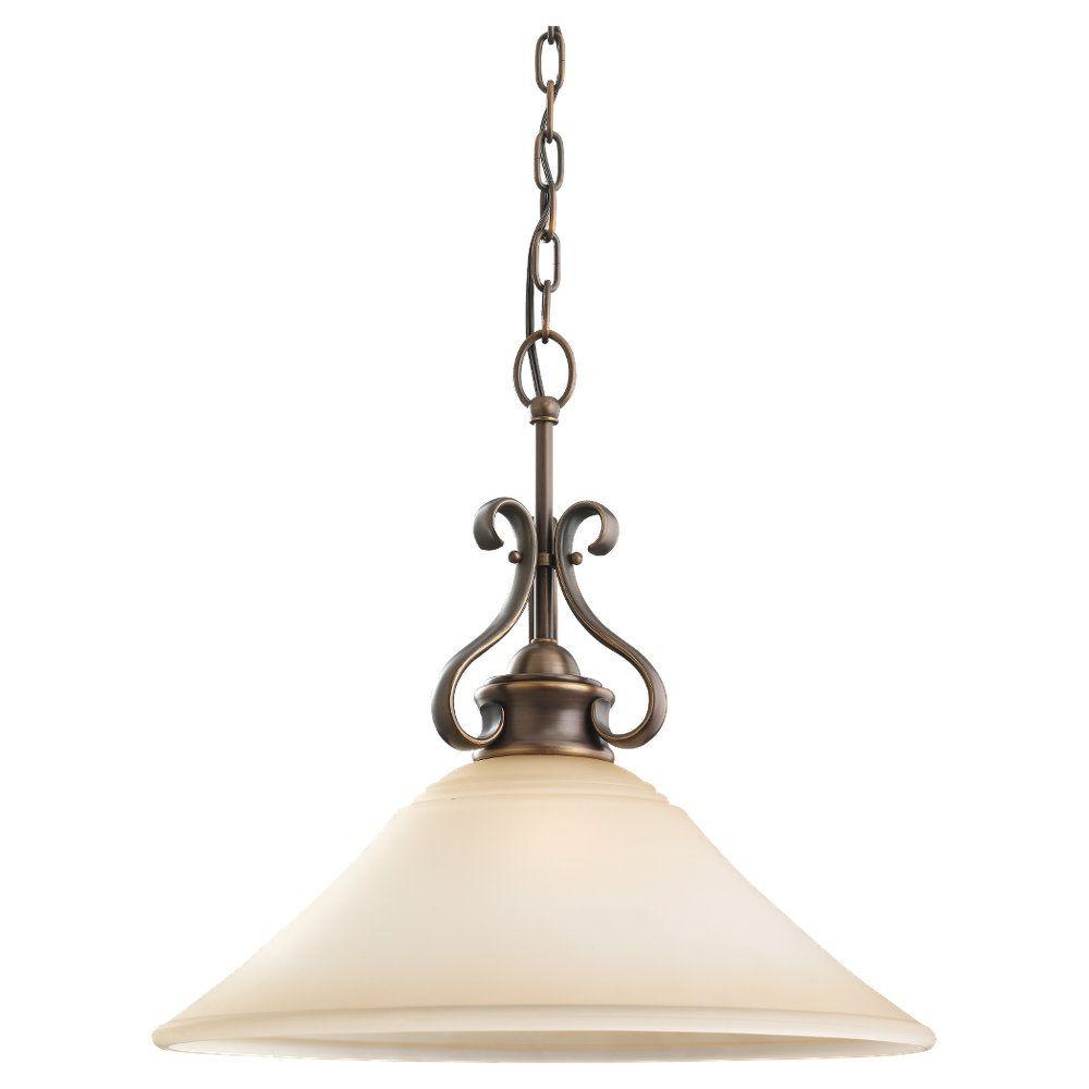 Lustre Seagull à une ampoule avec abat-jour de spécialité, Fini bronze