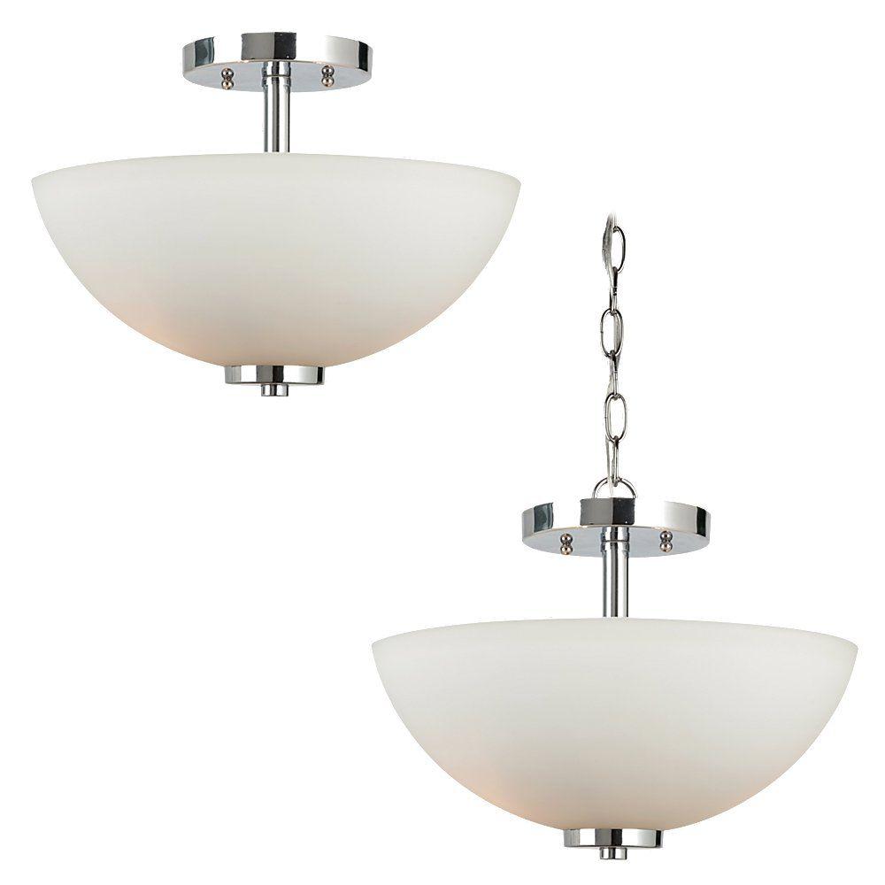2 Light Chrome Incandescent Semi-Flush