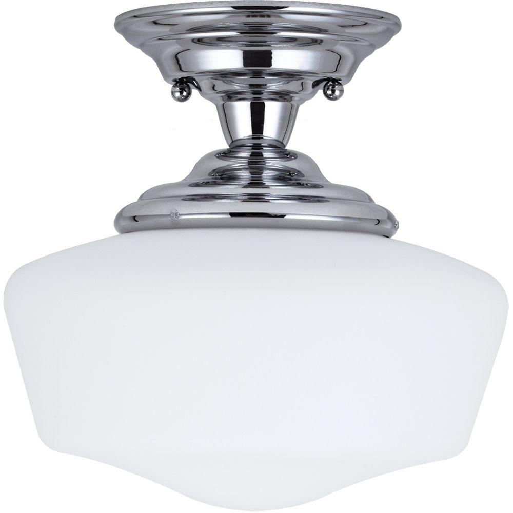 Plafonnier Seagull à une ampoule avec abat-jour blanc, finition de spécialité