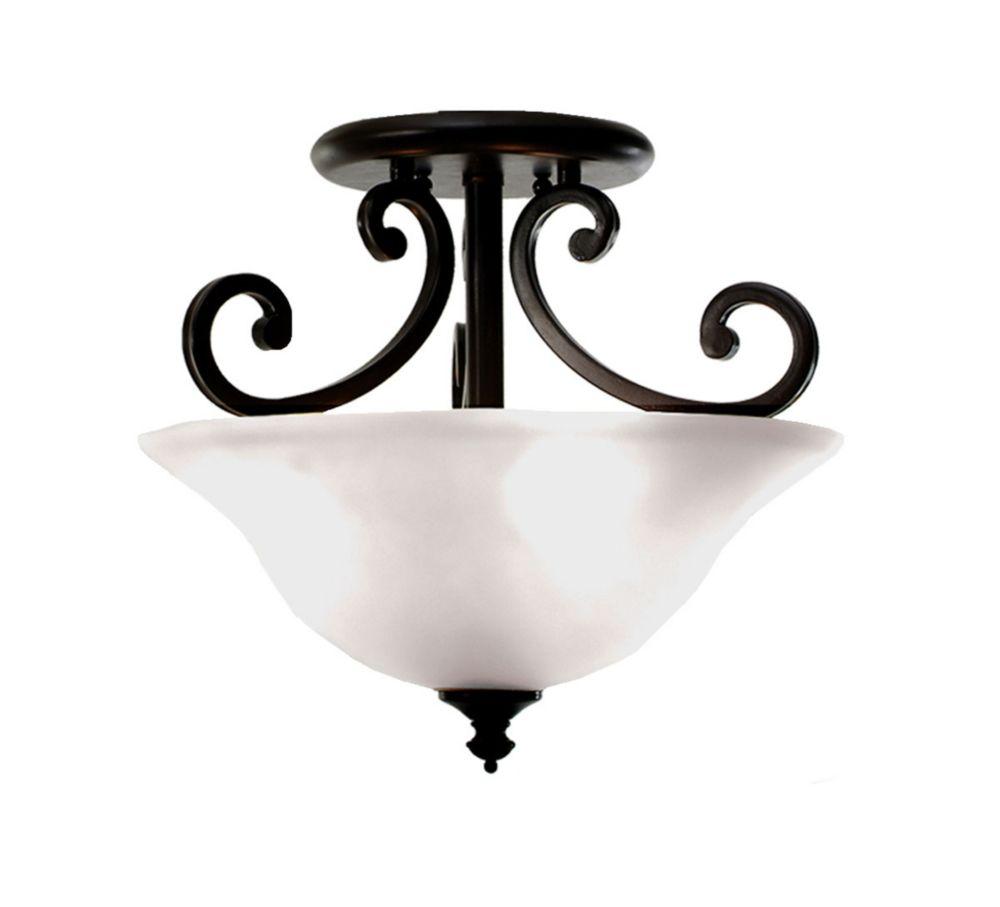 3 La lumière Semi-Flush avec Blanche Striée verre et un Anglais bronze Terminer