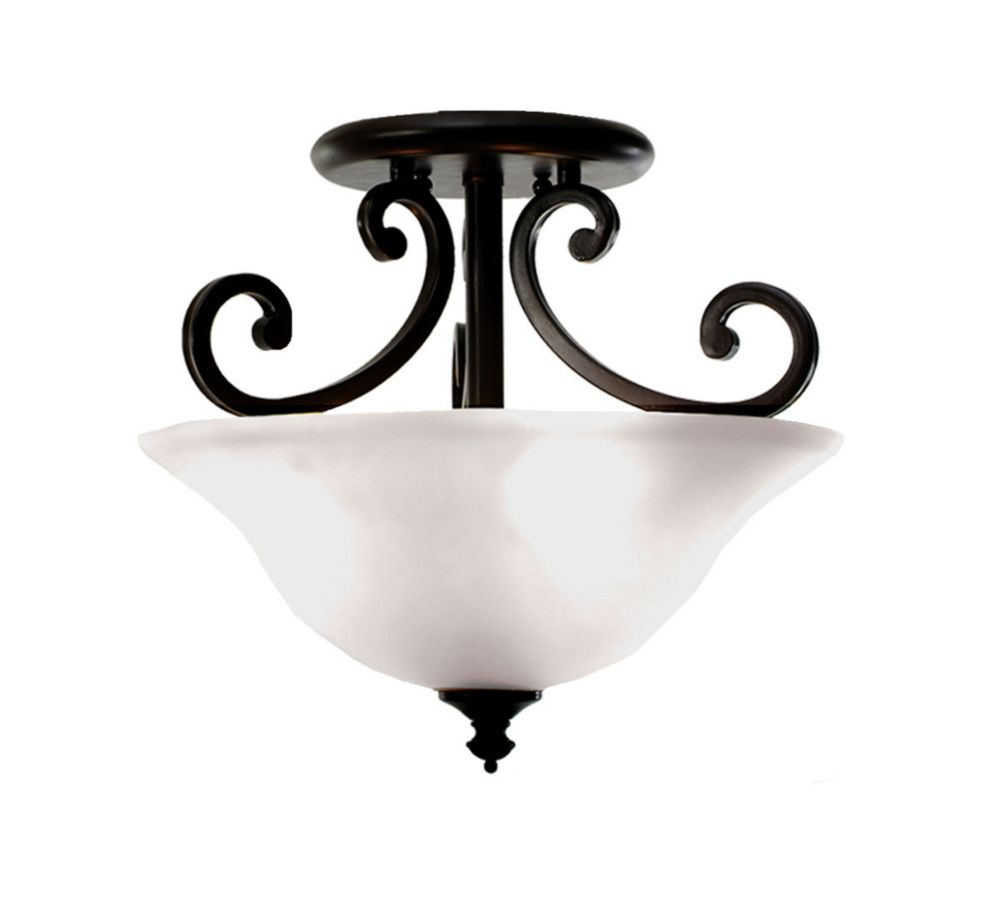 3 Light Semi-Flush with Streaked White Glass and an English Bronze Finish