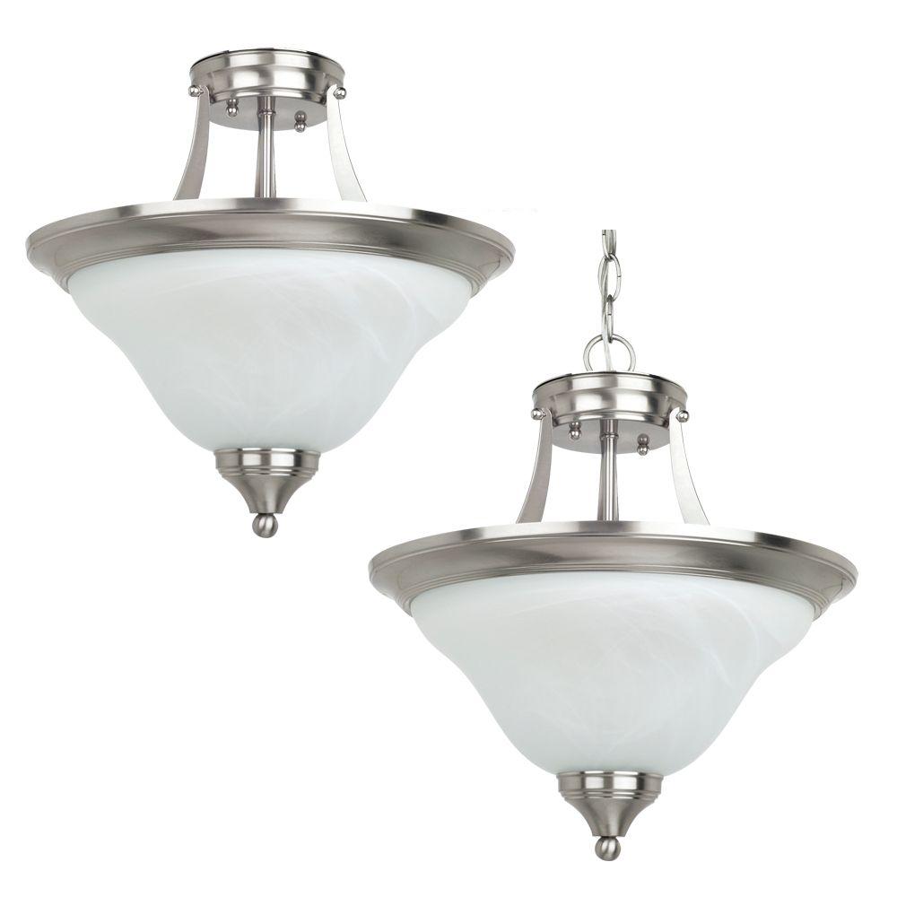2-Light Brushed Nickel Semi-Flush