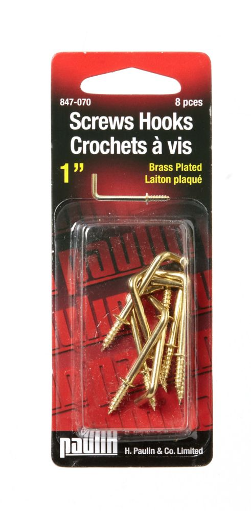 "1"" Square Hook - Brass 8Pcs"