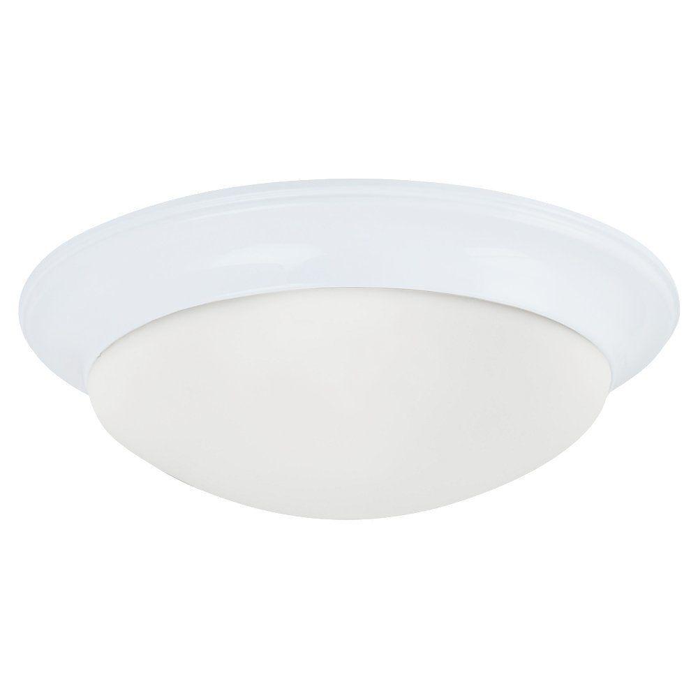 2 Light White Fluorescent Flush Mount