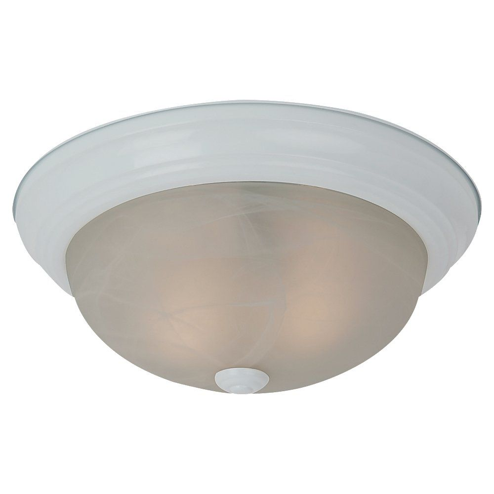 2 Light White Incandescent Flush Mount