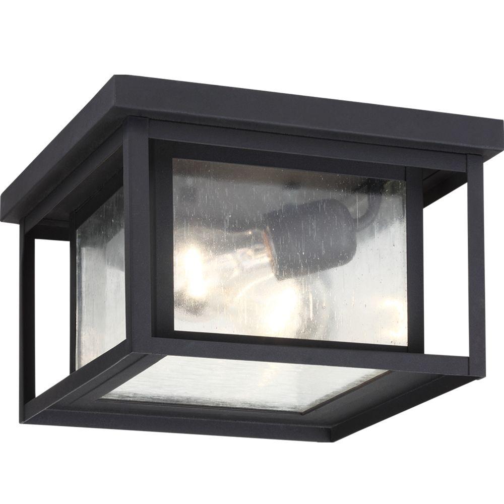 Sea Gull Lighting 2-Light Black Outdoor Flush Mount