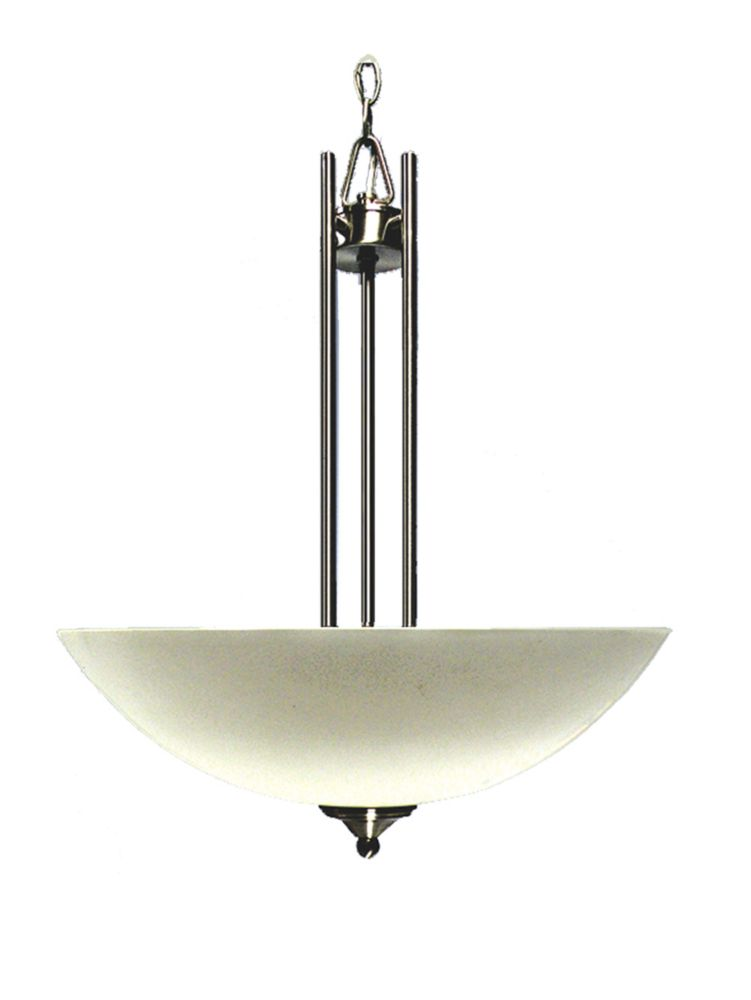 3 Light Pendant with Satin Opal Glass and a Satin Chrome Finish