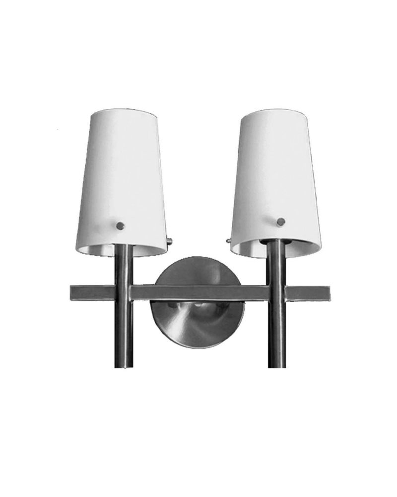 2 Light Vanity Light with Satin Opal Glass and a Satin Chrome Finish