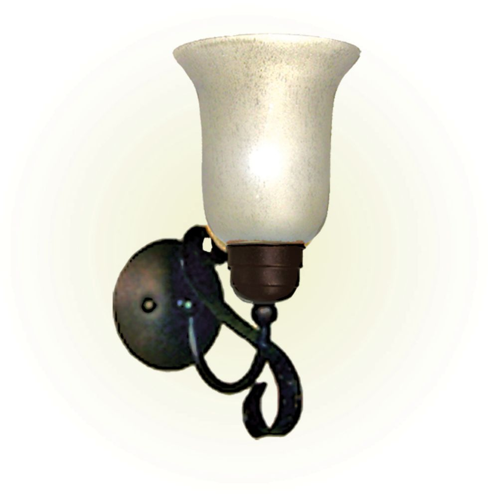 1 Light Wall Mount with Streaked White Glass and an Old English Bronze Finish