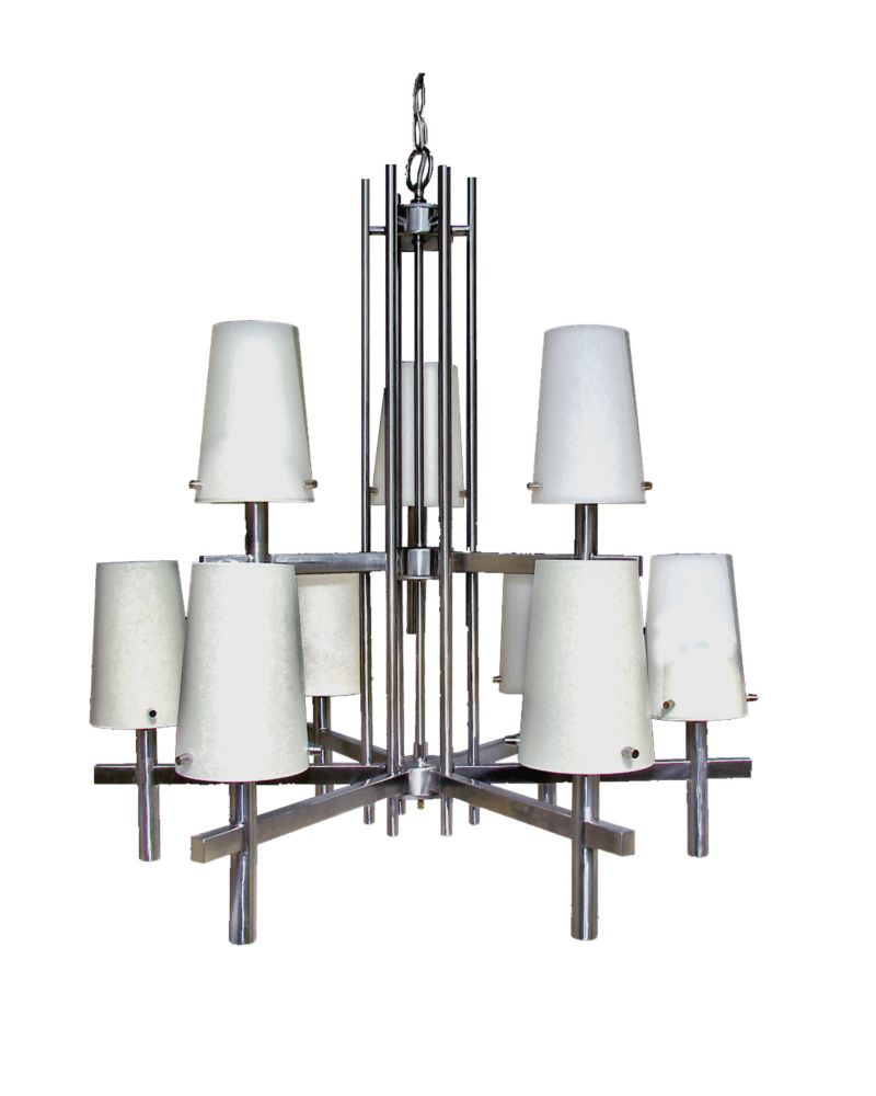 9 Light Chandelier with Satin Opal Glass and a Satin Chrome Finish