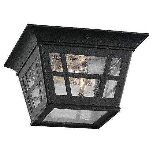 2-Light Black Outdoor Flush Mount