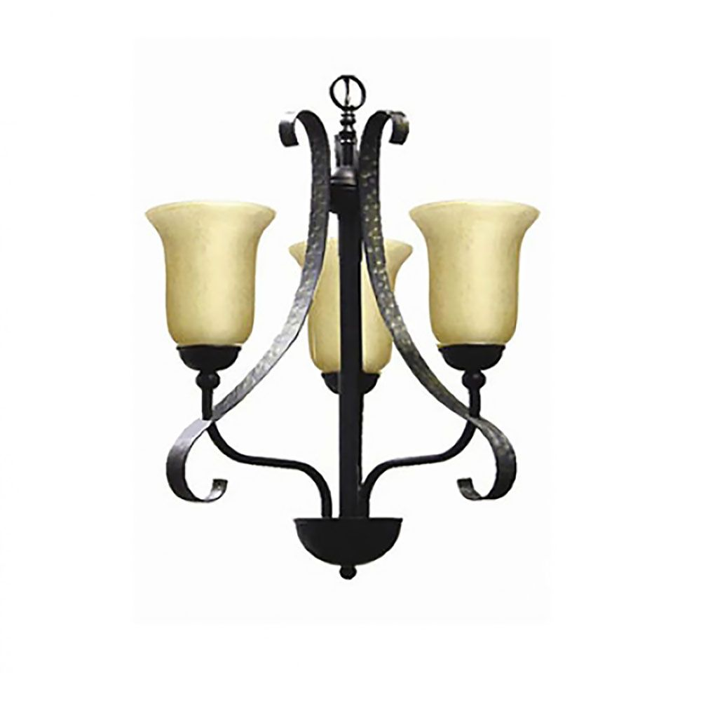 3 Light Chandelier with Streaked Amber Glass and an Old English Bronze Finish