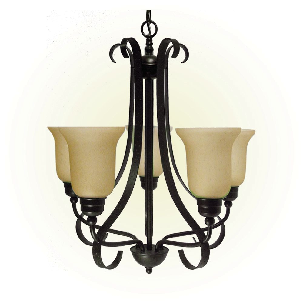 5 Light Chandelier with Streaked Amber Glass and an Old English Bronze Finish