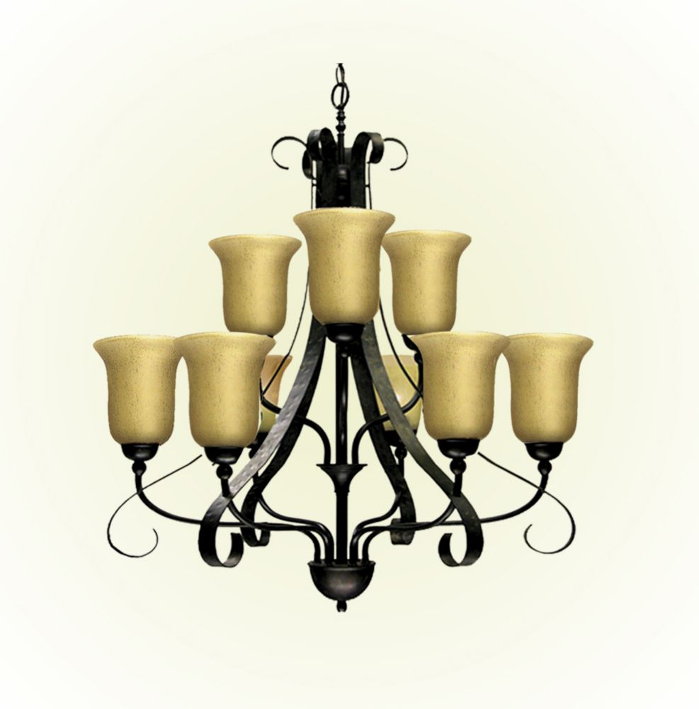 9 Light Chandelier with Streaked Amber Glass and an Old English Bronze Finish