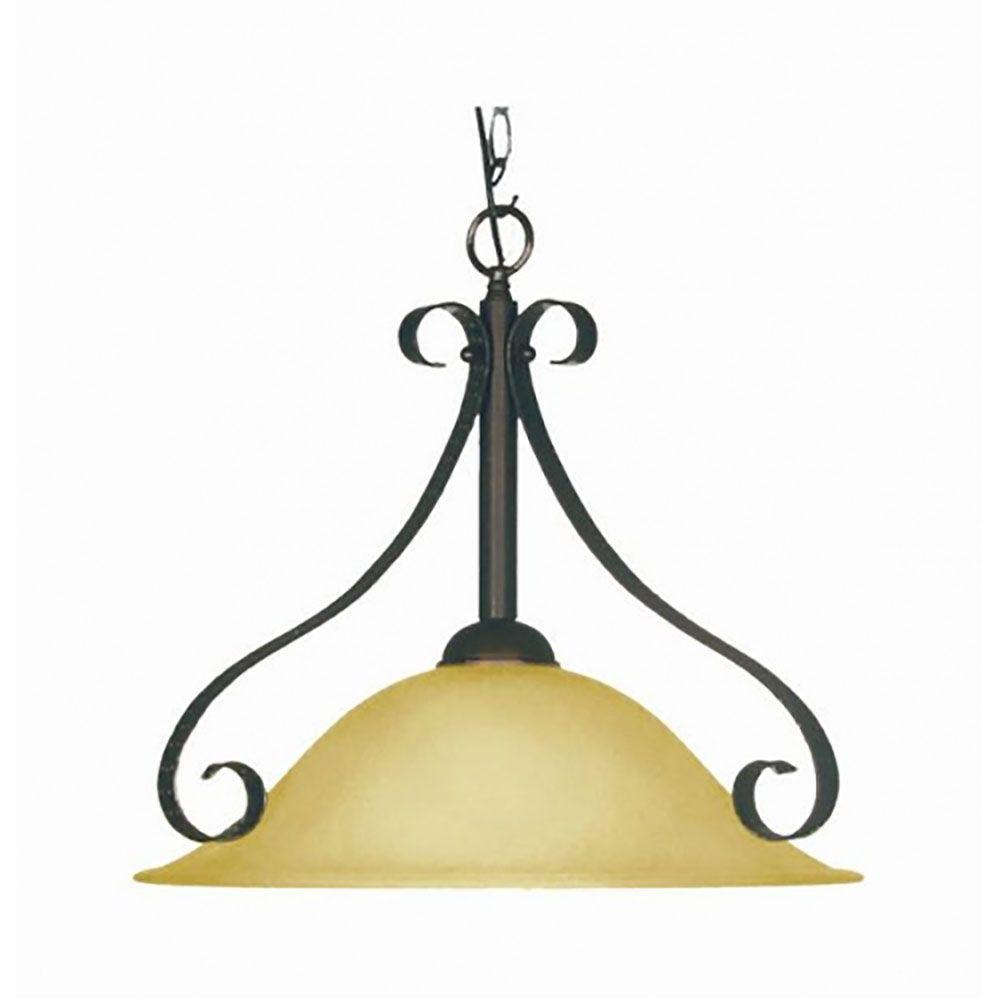 1 La lumière Pendant avec Striée verre ambre et un Ancien Anglais Bronze Terminer