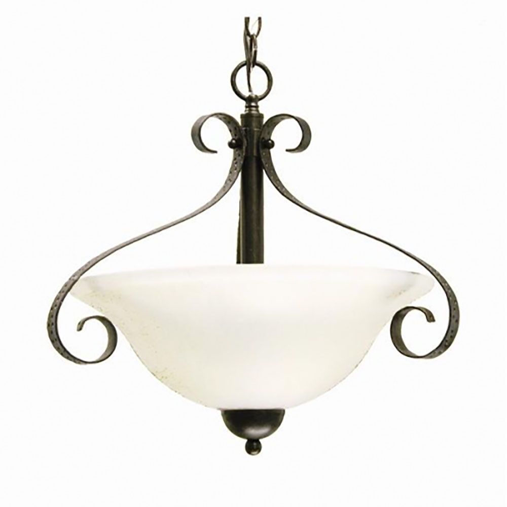 3 Light Pendant with Streaked White Glass and an Old English Bronze Finish