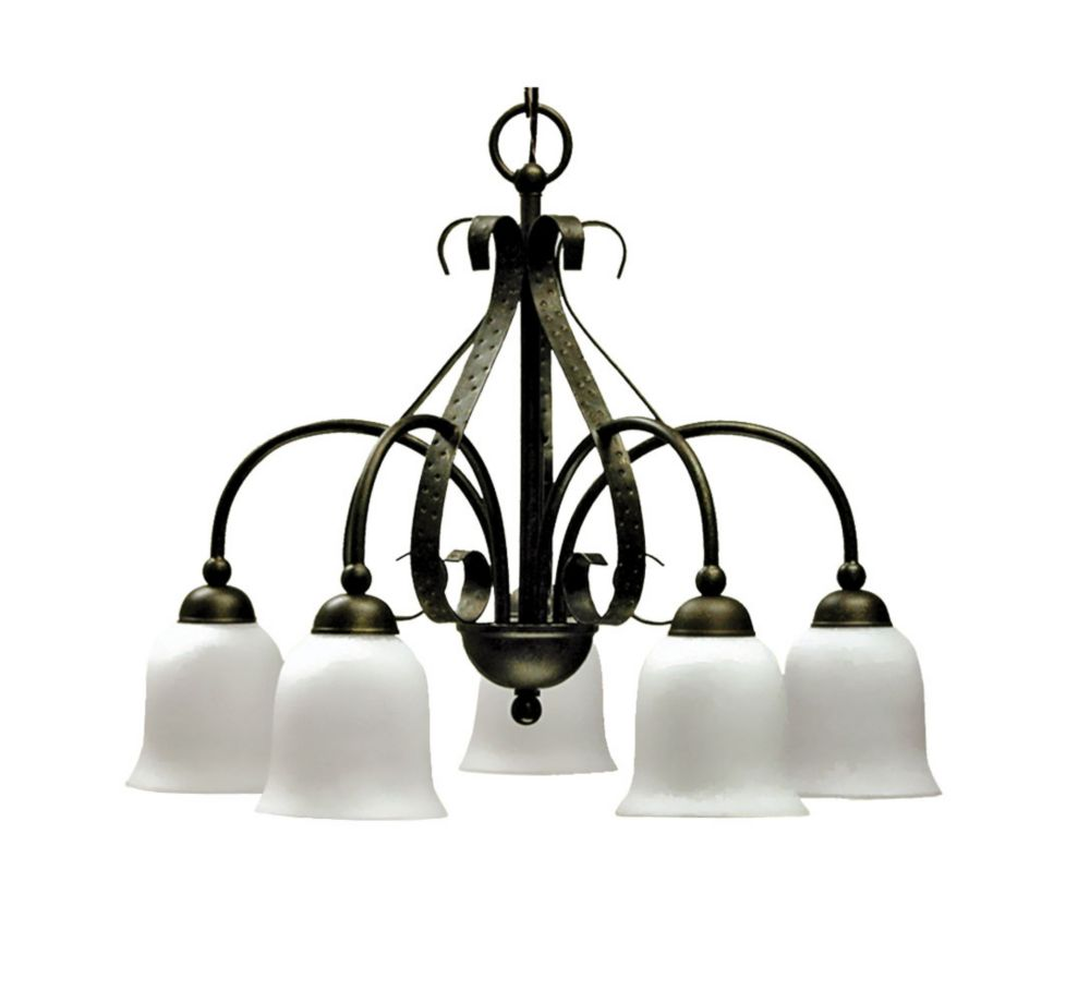 5 Light Chandelier with Streaked White Glass and an Old English Bronze Finish