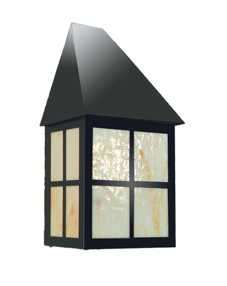 1 Light Outdoor Light with Honey Milk Glass and a Black Finish