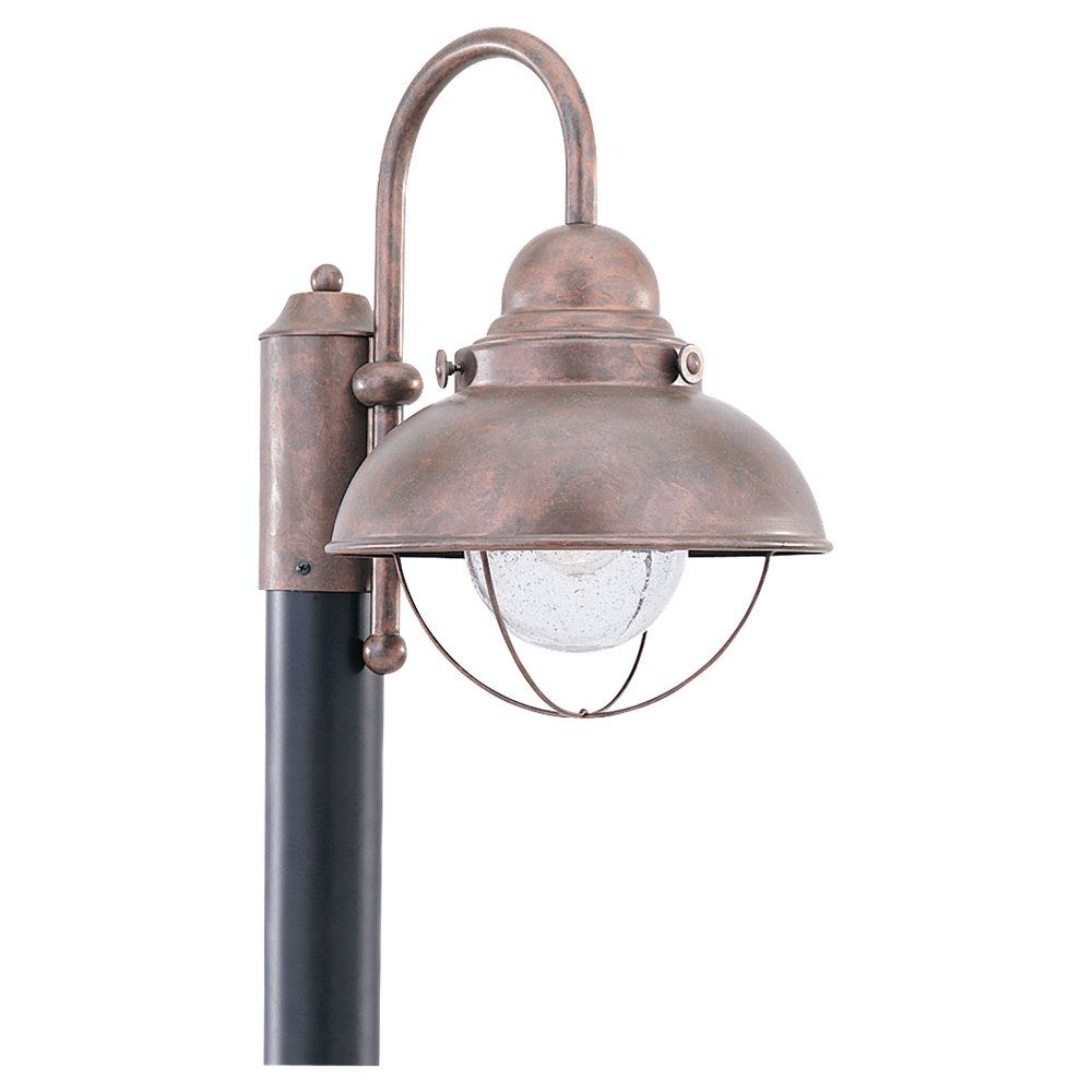 1 Light Weathered Copper Incandescent Outdoor Post Lantern