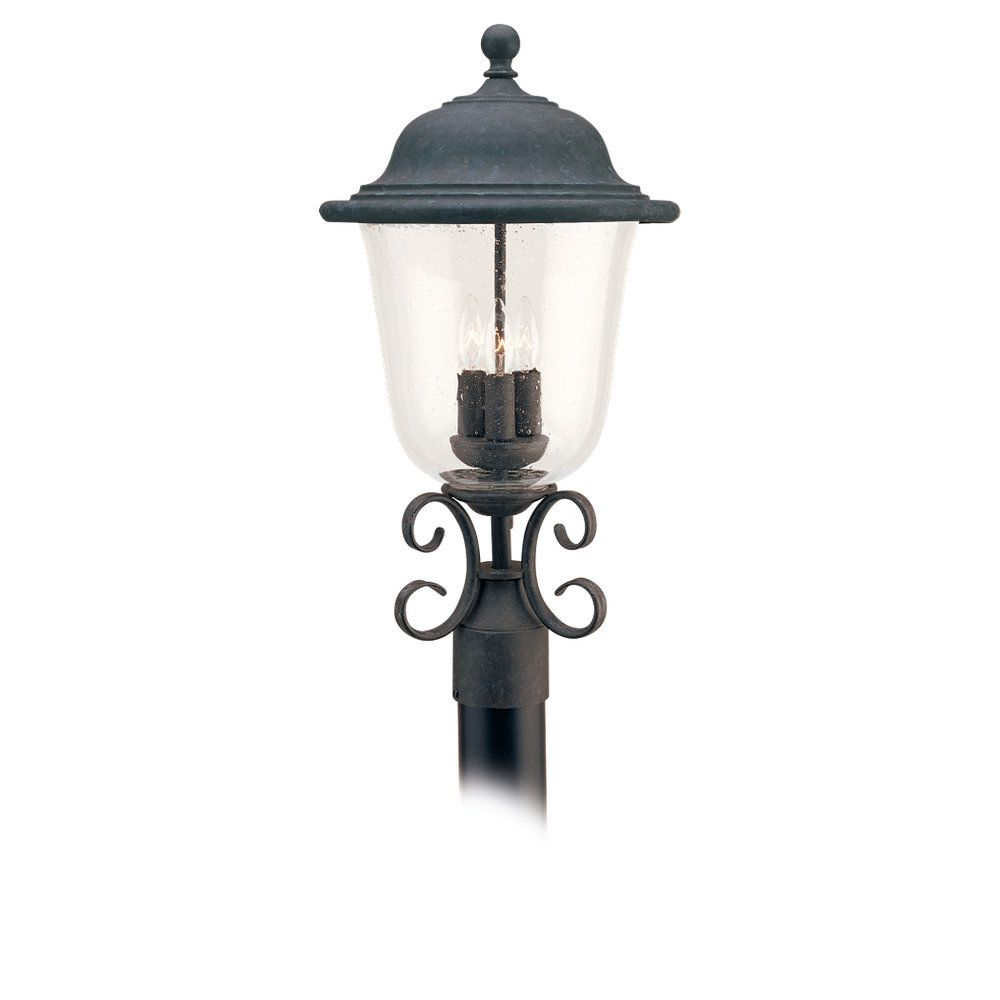 3-Light Oxidized Bronze Outdoor Post Lantern