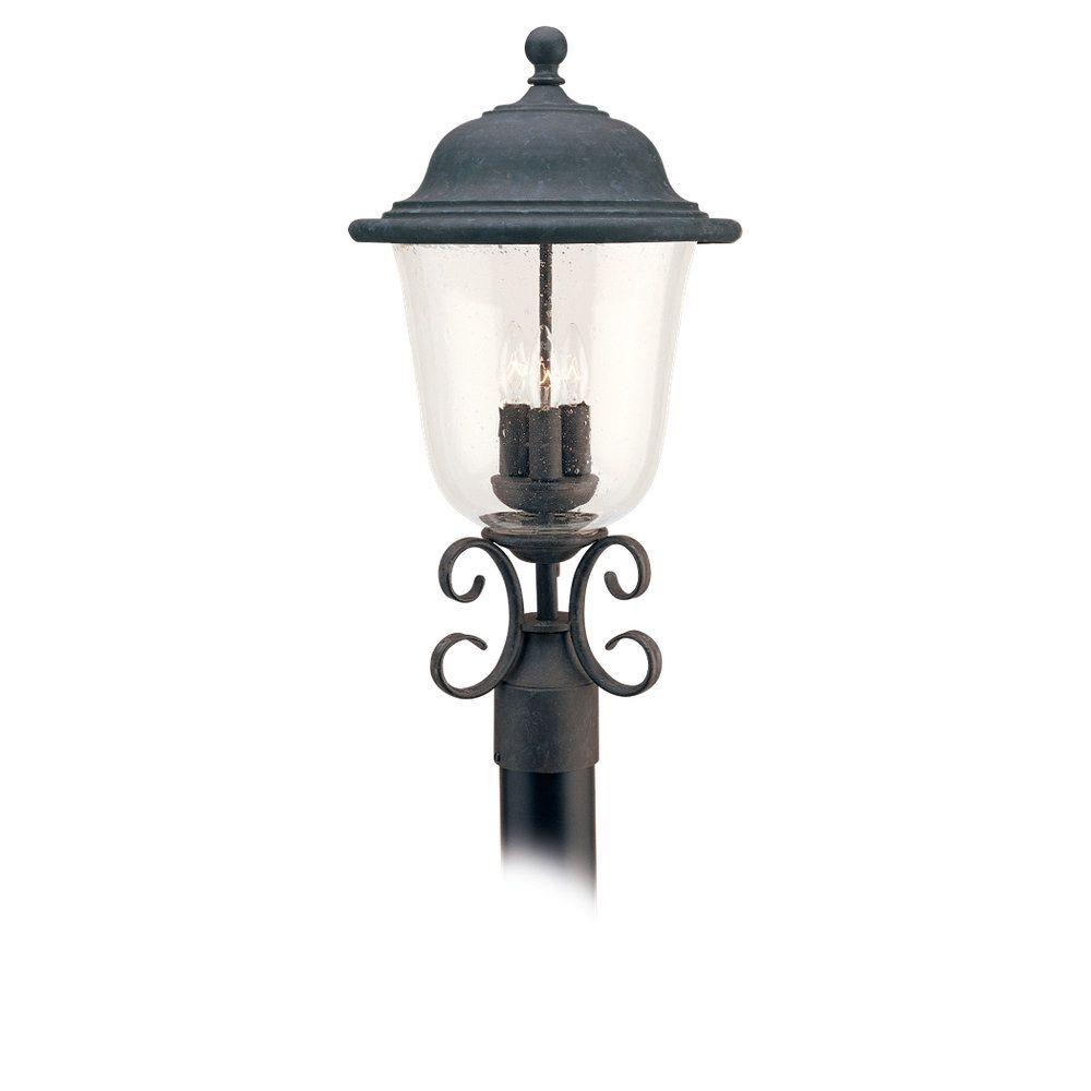 3-Light Oxidized Bronze Outdoor Post Lantern
