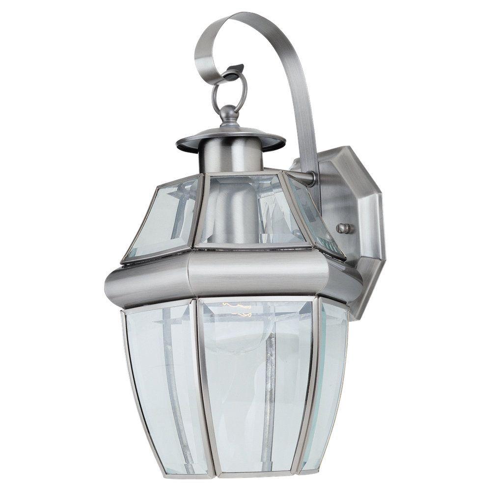 1 Light Antique Brushed Nickel Incandescent Outdoor Wall Lantern