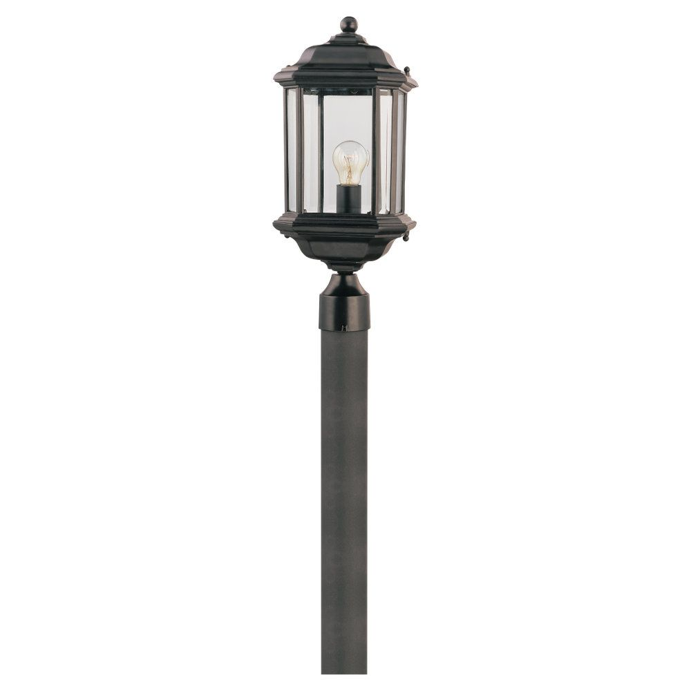 1-Light Black Outdoor Post Lantern