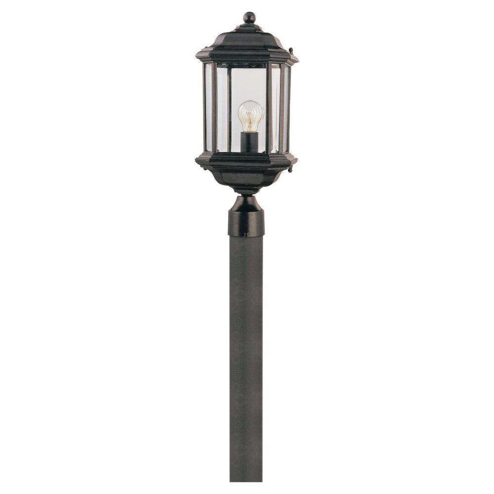 1-Light Black Outdoor Post Lantern