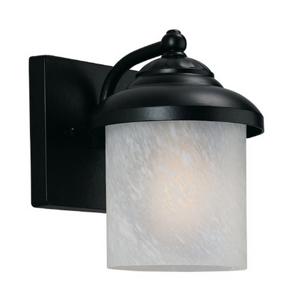 Lumière Seagull fixée au mur à une ampoule avec abat-jour de spécialité, Fini noir