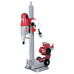 Milwaukee Tool Diamond Coring Rig with Small Base Stand, Vac-U-Rig Kit, Meter Box, and Diamond Coring Motor