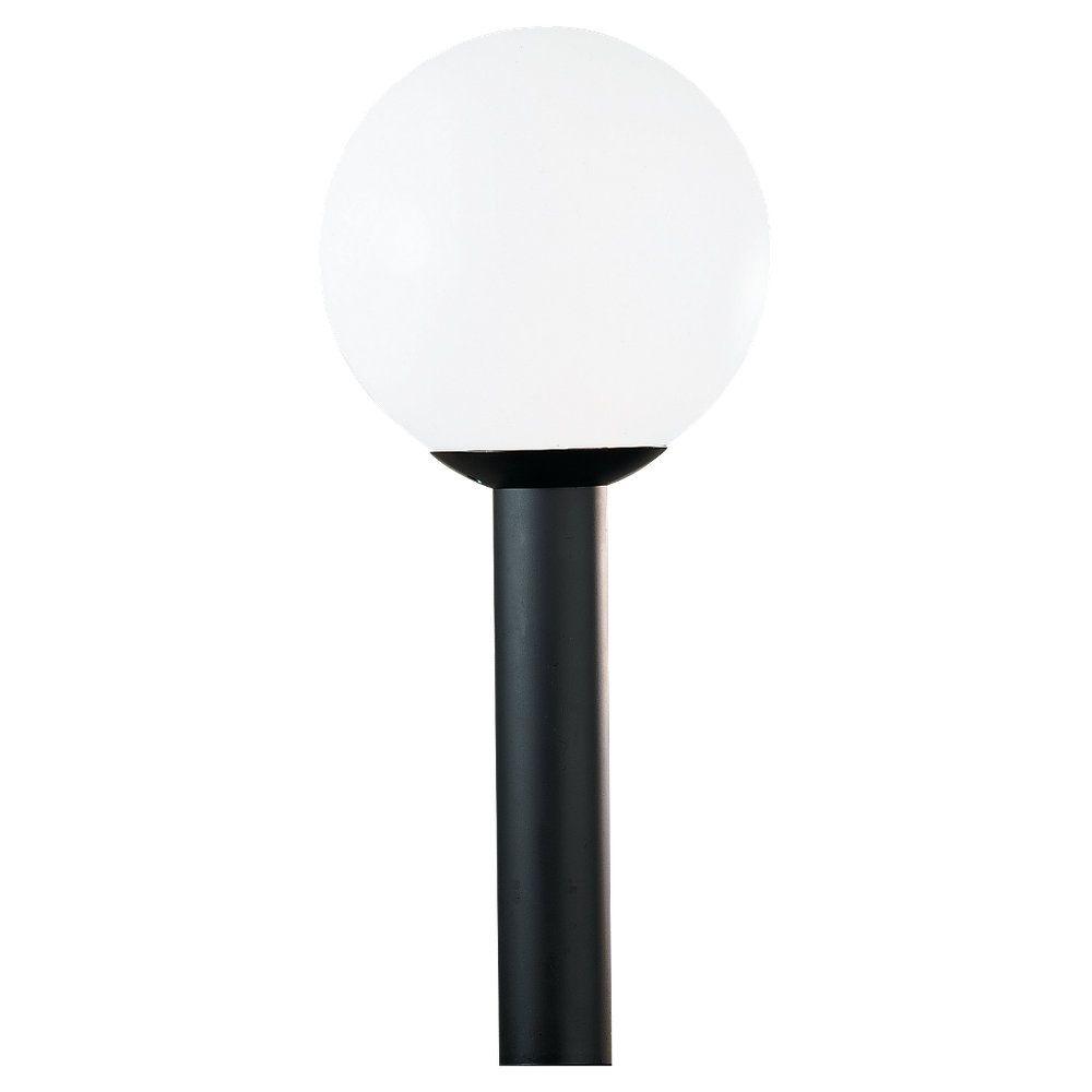 1-Light White Plastic Outdoor Post Lantern
