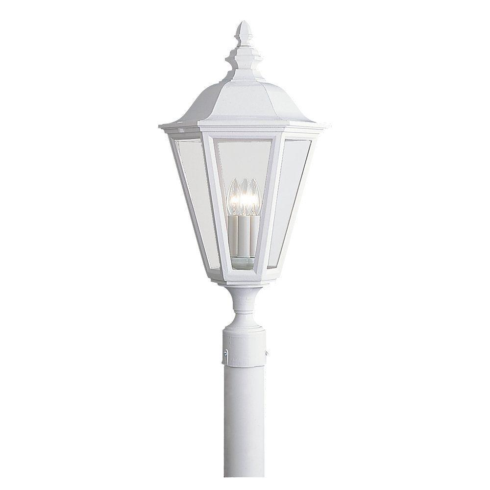 3-Light White Outdoor Post Lantern