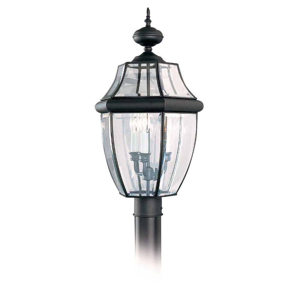 3-Light Black Outdoor Post Lantern
