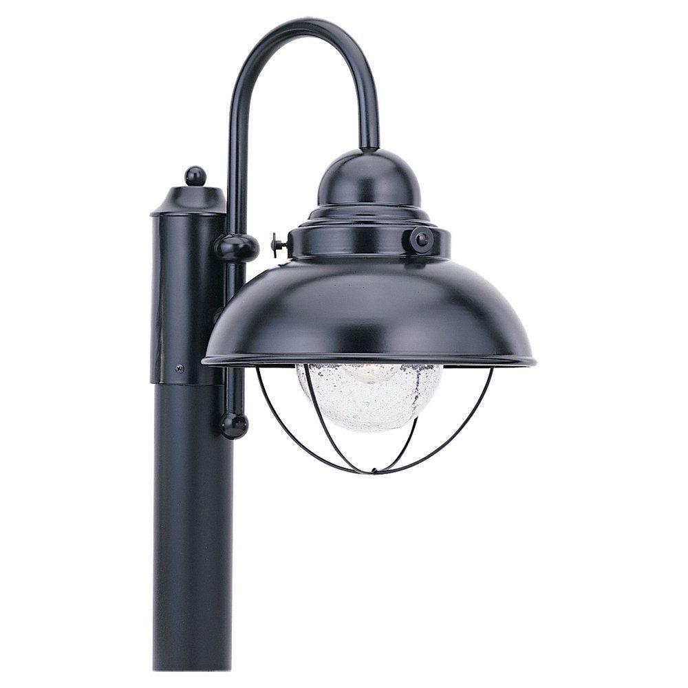 Sea Gull Lighting 1-Light Black Outdoor Post Lantern