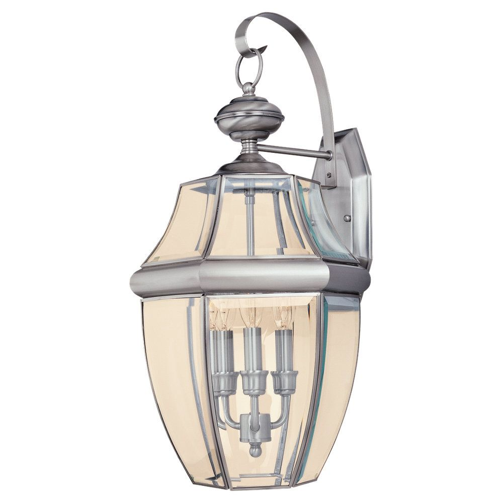 3 Light Antique Brushed Nickel Incandescent Outdoor Wall Lantern