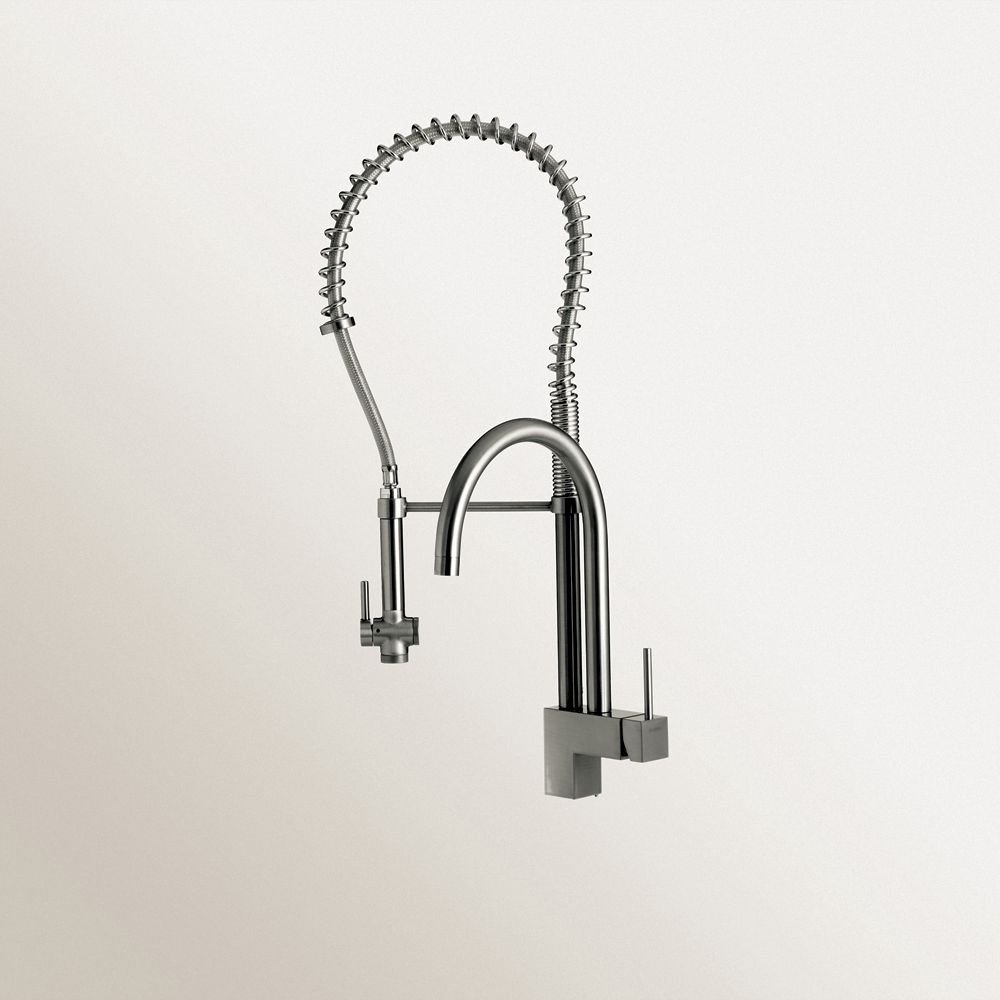 Single Lever, Professional Faucet With Two Swivel Spouts, Stainless Steel