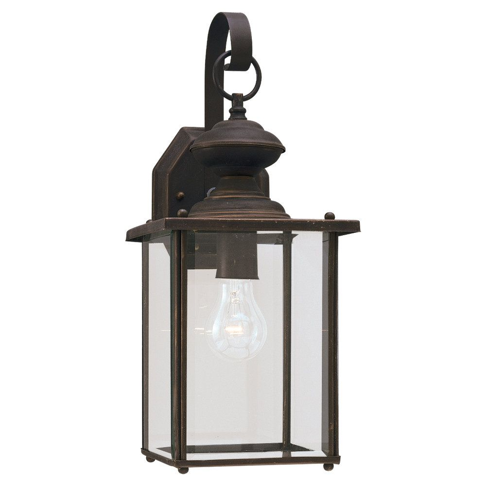 1 Light Antique Bronze Incandescent Outdoor Wall Lantern