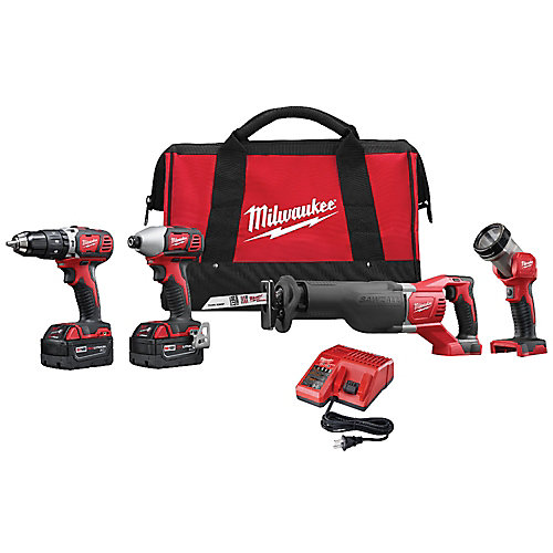 M18 18V Lithium-Ion Cordless Combo Tool Kit (4-Tool) with (2) 3.0Ah Batteries, Charger, Tool Bag