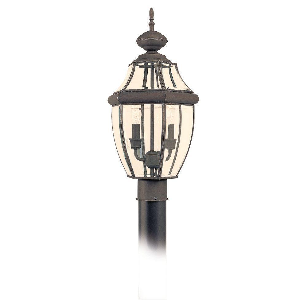 2 Light Antique Bronze Incandescent Outdoor Post Lantern