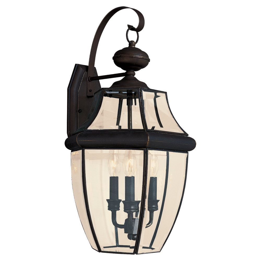 3-Light Antique Bronze Outdoor Wall Lantern